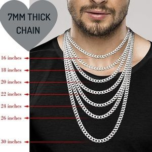 """24"""" Men's Solid 925 Sterling Silver Cuban Chain"""